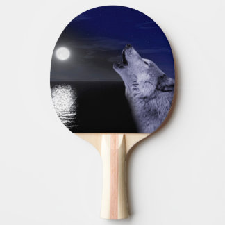 Sea wolf - moon wolf - full moon - wild wolf ping pong paddle