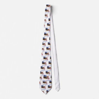 Seabees Bald Eagle American Flag Design Tie