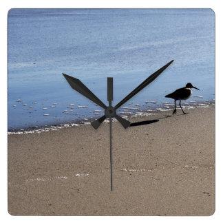 Seabird on the Beach Square Wall Clock