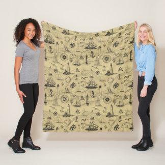 Seafaring Vintage Nautical Old Map Pattern Fleece Blanket