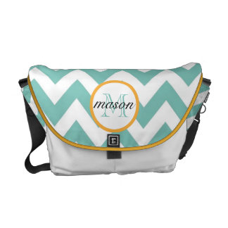 Seafoam and Gold Monogram Diaper Bag Courier Bags