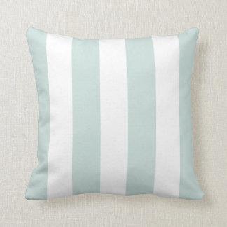 Seafoam and White Striped Throw Pillow