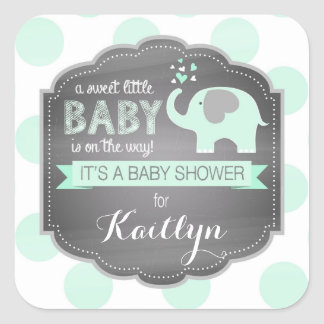 Seafoam Elephant Dpt Baby Shower Square Sticker