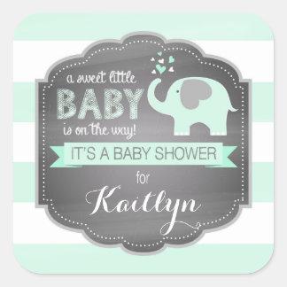 Seafoam Elephant Stripe Baby Shower Square Sticker