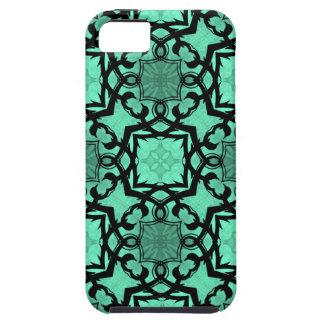 Seafoam green and black geometric kaleidoscope iPhone 5 covers