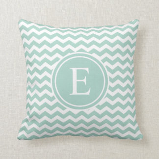 Seafoam Green Chevron Monogram Throw Pillows