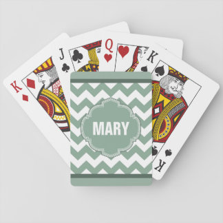 Seafoam Green Chevron Stripe Monogram Card Deck