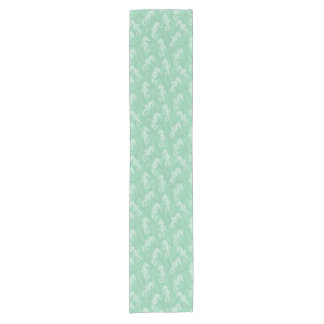 Seafoam Green Coral Reef Seahorse Short Table Runner