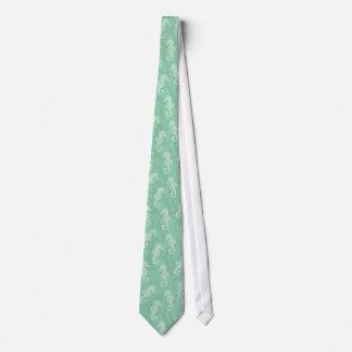 Seafoam Green Coral Reef Seahorse Wedding Necktie