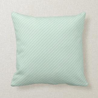 Seafoam Green Diagonal Stripes Throw Pillow