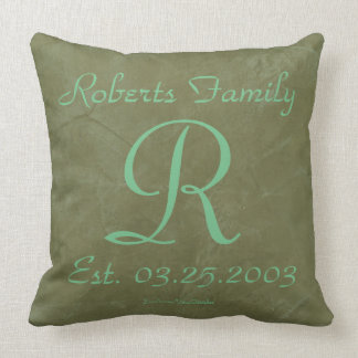 Seafoam Green Monograms Rustic Glam Throw Pillow