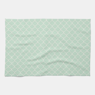 Seafoam Green Moroccan Quatrefoil Pattern Kitchen Towel