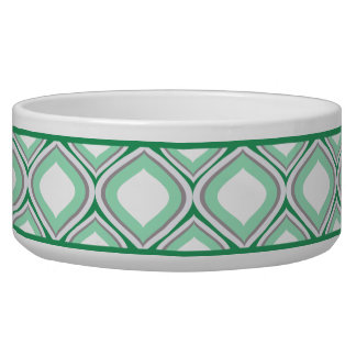 Seafoam Green Ogee Ceramic Dog Bowl