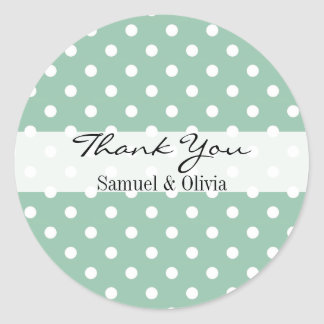 Seafoam Green Round Custom Polka Dotted Thank You Classic Round Sticker