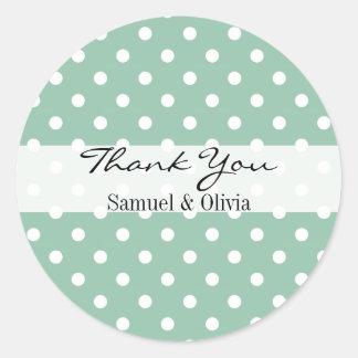 Seafoam Green Round Custom Polka Dotted Thank You Round Sticker