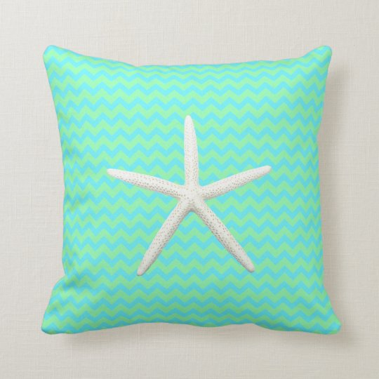 Seafoam Green Starfish Throw Pillow