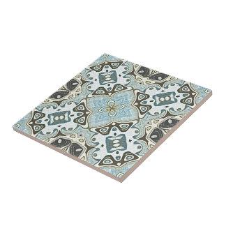 Seafoam Green Teal Turquoise Bali Batik Pattern Tile