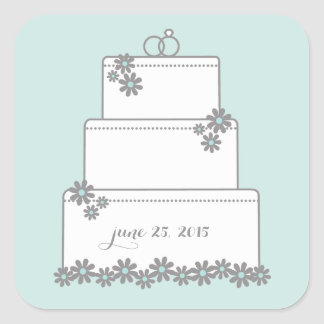 Seafoam Green Wedding Cake Favor Stickers