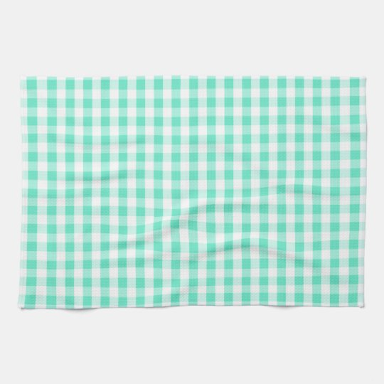 Seafoam Green & White Gingham Pattern Hand Towels