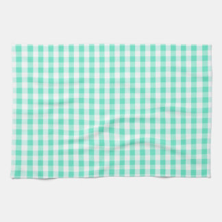 Seafoam Green & White Gingham Pattern Kitchen Towel