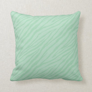 Seafoam Green Zebra Print Throw Pillow