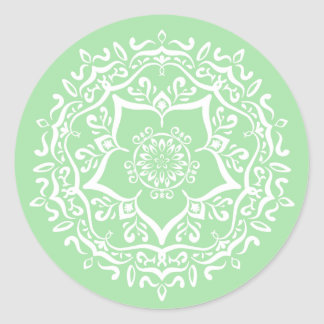 Seafoam Mandala Classic Round Sticker