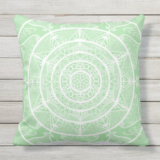 Seafoam Mandala Throw Pillow