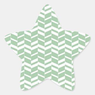 Seafoam Mint Green Herringbone Lines Star Sticker