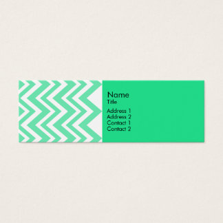 Seafoam Mint Green Zigzgag Pattern Mini Business Card