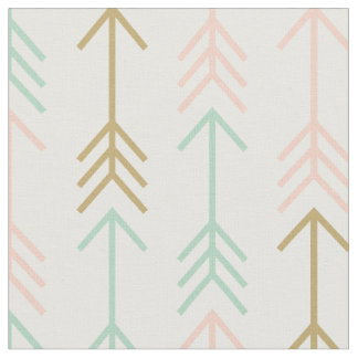 Seafoam Peach and Gold Arrows Fabric