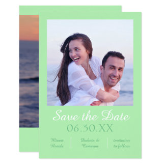 """Seafoam Photo Vertical - 3x5 Save the Date 3.5"""" X 5"""" Invitation Card"""