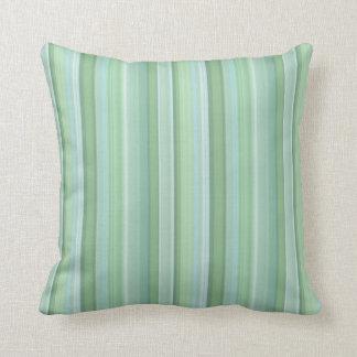 Seafoam, Sage, & Baby Blue Striped Pattern Throw Pillow