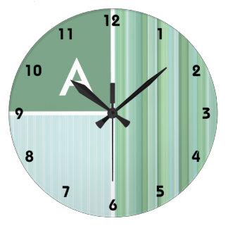 Seafoam, Sage Green, & Baby Blue Stripes Large Clock
