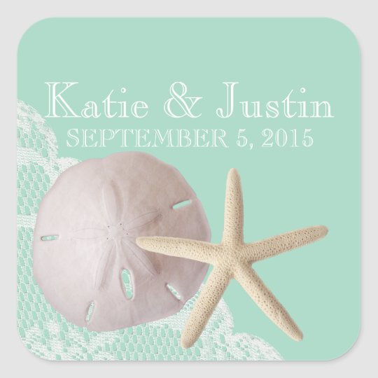 Seafoam Sand Dollar and Starfish Square Sticker
