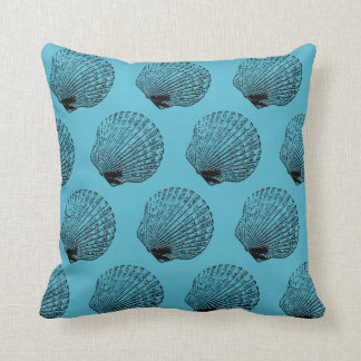 Seafoam Seashell Scallop Ink and Pen Art Throw Pillow