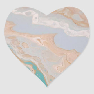 Seafoam Shore Heart Sticker