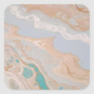 Seafoam Shore Square Sticker