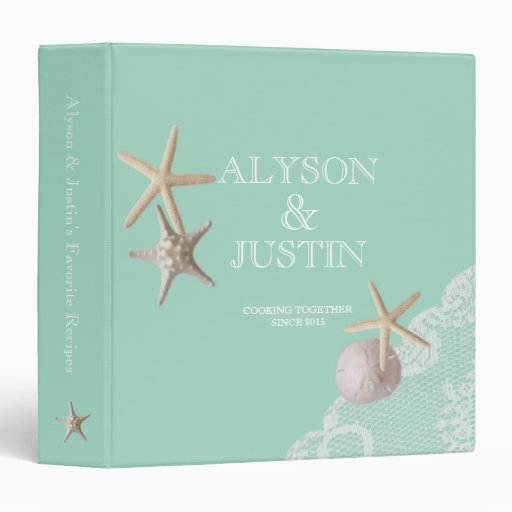 Seafoam Starfish and Sand Dollar Recipes 3 Ring Binders