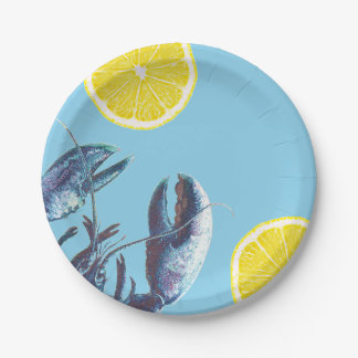 Seafood Boil Blue Lobster and Lemon 7 Inch Paper Plate