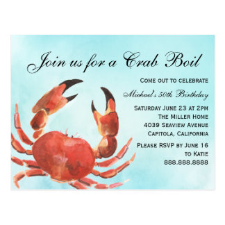 Seafood Crab Boil Summer Birthday Party Postcard