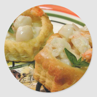 Seafood In Pastry Classic Round Sticker