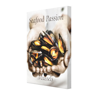 Seafood Mussels Photograph Canvas Print