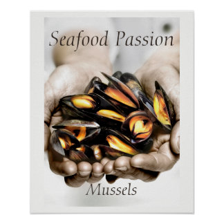 Seafood Mussels Photograph with customisable text Poster