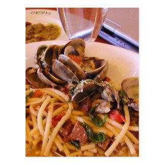 Seafood Pasta Clams Food Postcard