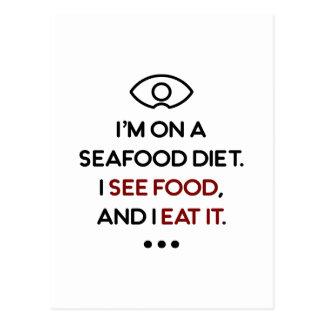 Seafood See Food Eat It Diet Postcard