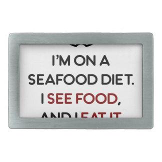 Seafood See Food Eat It Diet Rectangular Belt Buckle