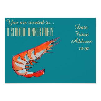 Seafood shrimp prawn BBQ dinner party Card