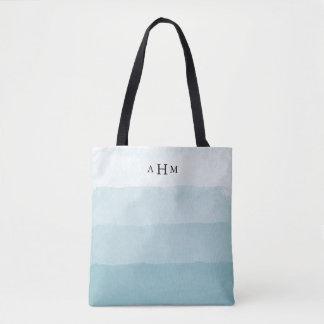 Seaglass Aqua Watercolor Ombre Monogram Tote Bag