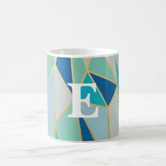 Seaglass Geometric Monogram Mug