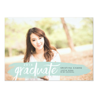 Seaglass Painted Stripe Photo Graduation Party Card